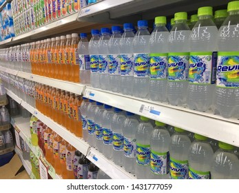 Malaysia, Kuala Lumpur - 21 JUNE 2019 : A variety of carbonated drinks and a variety of flavors on a shelf in a large supermarket.