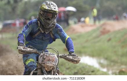 MALAYSIA, KUALA LUMPUR, 8 SEPTEMBER 2017 - Motocross rider training at Putrajaya Track.