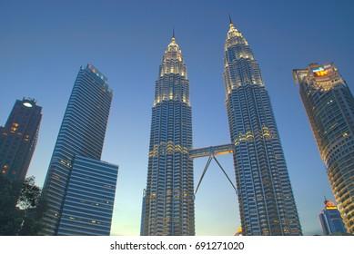 Malaysia - Kuala Lumpur - August 7th, 2017: Petronas Twin Tower is one of the most popular landmarks in Malaysia.
