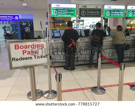 Malaysia, Kuala Lumpur - Desember 18, 217 : sign in to redeem bus tickets for customers who purchase bus tickets online at the bus terminal  (Terminal Bersepadu Selatan - TBS)