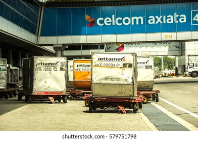 Malaysia, Kuala Lumpur International Airport, February 15TH, 2017: Passenger cargo storage bag neatly packed waiting for their turn to be filled