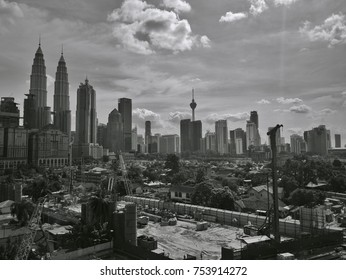 MALAYSIA, Kuala Lumpur, November 13, 2017: City view with sky background in sunny days. (Black and white version)