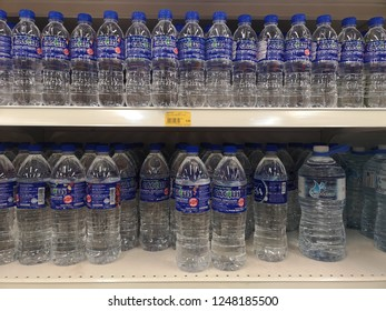 MALAYSIA, Kuala Lumpur, November 25, 2018: Mineral water products are arranged on shelves in supermarkets.