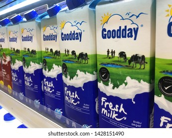 Malaysia, Kuala Lumpur-JUNE 17 2019: Fresh milk famous brands in malaysia are sold in supermarkets.