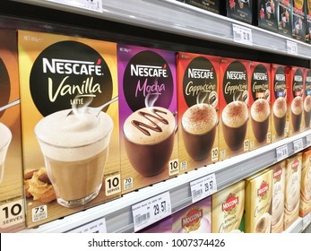 Malaysia, Kuantan - December 13, 2017: Nescafe Coffee offered for sale in Supermarket. Nescafe is a brand of coffee made by Nestle S.A. a Swiss transnational food and drink company.