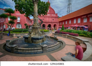 Malaysia, Malacca - November, 2018 : Red Square (Dutch Square), the famous tourism spot in Melacca city. Including Christ church the old town hall or Stadthuys. You can also enjoy a tri-shaw ride