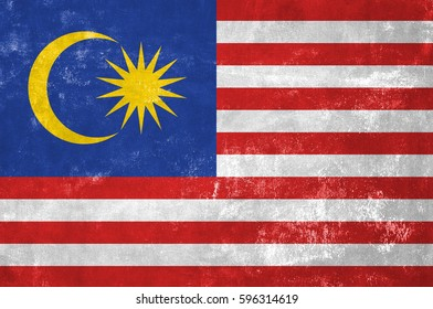 Malaysia - Malaysian Flag on Old Grunge Texture Background