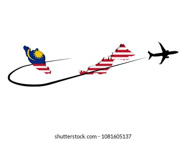 Malaysia map flag with plane silhouette and swoosh 3d illustration