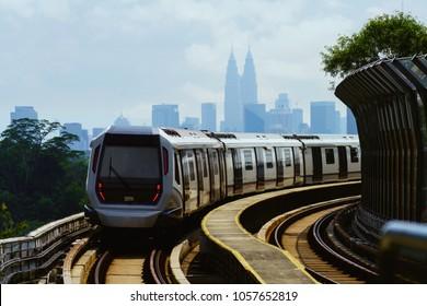 Malaysia mass rapid transit train with Kuala lumpur city in background, Kuala lumpur Malaysia