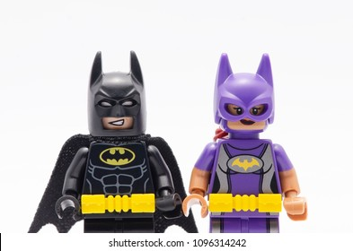 MALAYSIA, may 07, 2018. close up mini figure of  batman and batgirl. Lego minifigures are manufactured by The Lego Group.