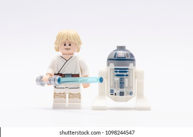 MALAYSIA, may 07, 2018. mini figure of  luke skywalker holding light saber with r2d2. Lego minifigures are manufactured by The Lego Group.