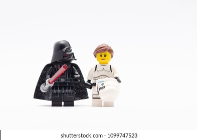 MALAYSIA, may 07, 2018. mini figure of  darth vader with princess leia in storm trooper suit. Lego minifigures are manufactured by The Lego Group.
