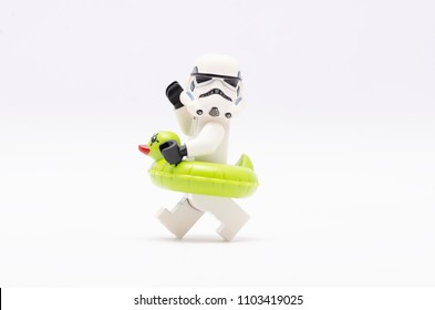 MALAYSIA, may 21, 2018. mini figure of  storm trooper wearing floating duck. Lego minifigures are manufactured by The Lego Group.
