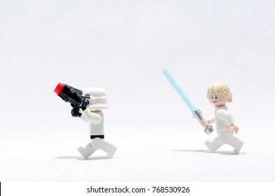 Malaysia, nov 08, 2017.luke skywalker chasing  storm trooper.  Lego minifigures are manufactured by The Lego.