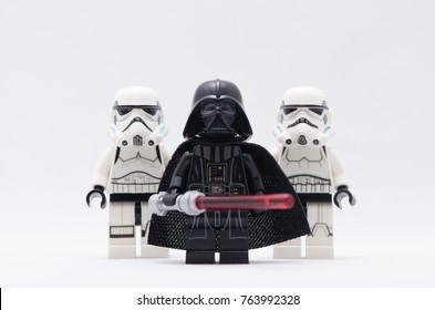Malaysia, nov 12, 2017. darth vader and storm trooper .  Lego minifigures are manufactured by The Lego.