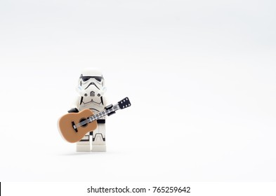 Malaysia, nov 12, 2017. storm trooper with guitar.  Lego minifigures are manufactured by The Lego.