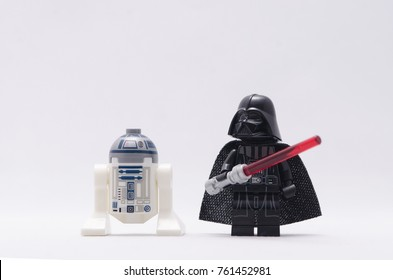 Malaysia, nov 19, 2017. minifigure of darth vader and r2d2.  Lego minifigures are manufactured by The Lego.