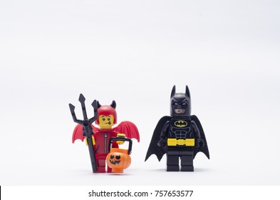 Malaysia, nov12, 2017 - cute little devil and batman. Lego minifigures are manufactured by The Lego.
