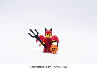malaysia, oct 19, 2017.  Cute Little Devil. Lego minifigures are manufactured by The Lego Group.