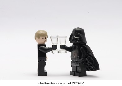 malaysia, oct 25, 2017.lego luke skywalker having a drink with darth vader.  Lego minifigures are manufactured by The Lego Group.