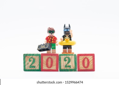 MALAYSIA, oct 6, 2019. lego batman and robin celebrating year 2020. Lego minifigures are manufactured by The Lego Group.