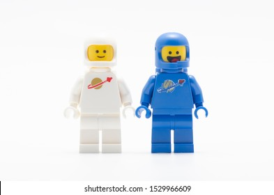 MALAYSIA, oct 6, 2019. lego benny happy face  and jenny space squad. Lego minifigures are manufactured by The Lego Group.