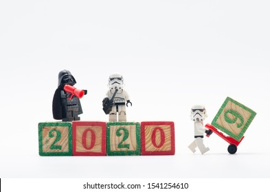 MALAYSIA, oct 6, 2019. lego darth vader with storm troopers build 2020 number for celebrating new year. Lego minifigures are manufactured by The Lego Group.