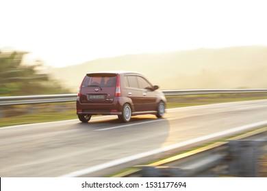 Malaysia - October 13 2019 : Perodua Viva Malaysia car speedy on the road in Malaysia