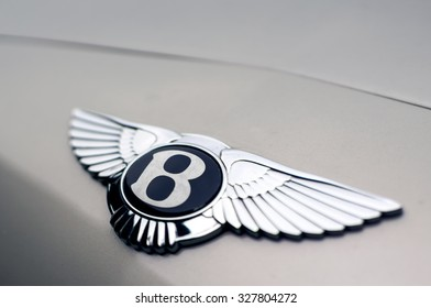 "MALAYSIA - OCTOBER 14 : the logo of the a ""Bentley"" luxury car on October 14, 2015."