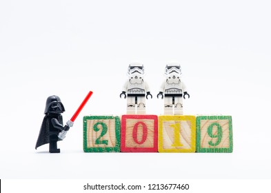 MALAYSIA, okt 27, 2018. lego darth vader with storm troopers celebrate year 2019. Lego minifigures are manufactured by The Lego Group.