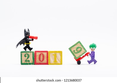 MALAYSIA, okt 27, 2018. lego batman with joker assembling year 2019. Lego minifigures are manufactured by The Lego Group.