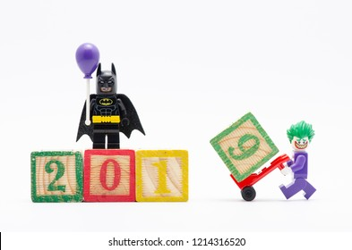 MALAYSIA, okt 27, 2018. lego batman holding a balloon with joker assembling year 2019. Lego minifigures are manufactured by The Lego Group.