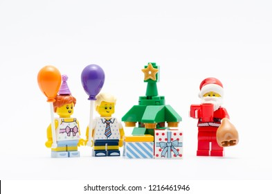 MALAYSIA, okt 27, 2018. lego santa claus kids celebrating christmas. Lego minifigures are manufactured by The Lego Group.