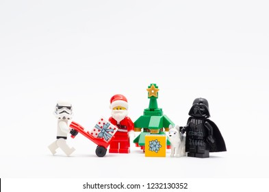 MALAYSIA, okt 27, 2018. lego stormtrooper, santa claus and darth vader celebrating christmas. Lego minifigures are manufactured by The Lego Group.