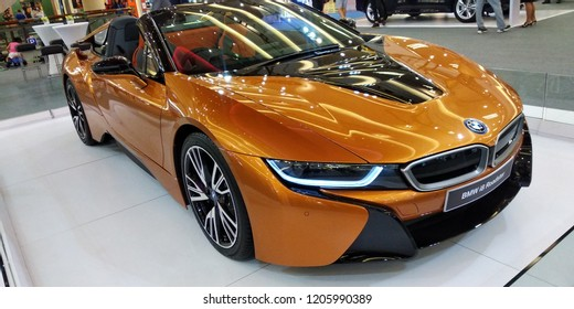 MALAYSIA - OKTOBER18, 2018: BMW i8 Roadster at motorshow in One Utama shopping Mall, Kuala Lumpur.