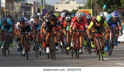 MALAYSIA, PERAK, 5 MAC 2017 - A Peloton of cycling rider passing sprinting to finishing line in stage three Le Tour De Langkawi 2017 from Serdang, Perak to Pantai Remis, Perak.