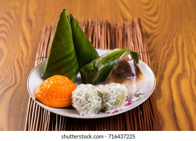 Malaysia popular assorted sweet dessert or simply known as kueh or kuih. The Chinese word on the cake is mean blessing.