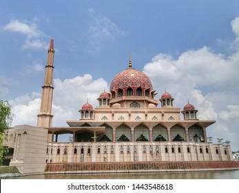 Malaysia, Putrajaya-July 06 2019: The view of Putra Mosque at Precinct 1 Putrajaya.