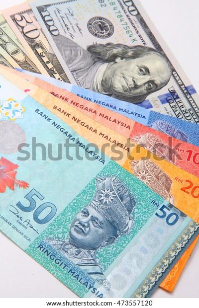 Malaysia Ringgit American Us Dollar Business Finance Stock Image 473557120