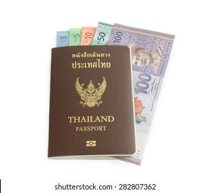 Malaysia ringgit banknote in Thailand passport on white background