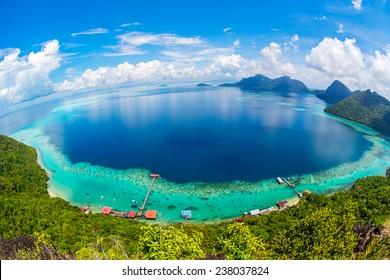 Malaysia Sabah Borneo Scenic View of Tun Sakaran Marine Park tropical island (Bohey Dulang) Semporna, Sabah.
