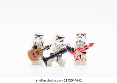 MALAYSIA, sept 2, 2018. lego storm troopers holding mic with two of them holding a guitar. Lego minifigures are manufactured by The Lego Group.