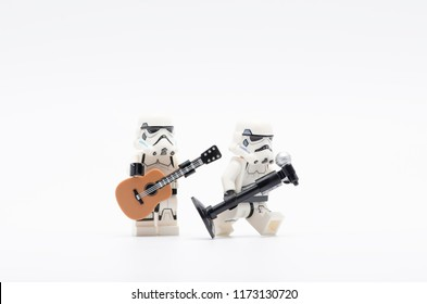 MALAYSIA, sept 2, 2018. lego storm troopers holding mic with one of them holding a guitar. Lego minifigures are manufactured by The Lego Group.