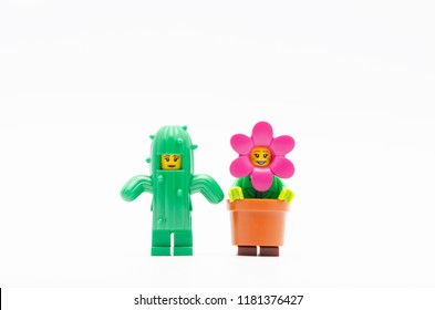 MALAYSIA, sept 2, 2018. lego . Lego Cactus Girl and  flower pot girl. minifigures are manufactured by The Lego Group.