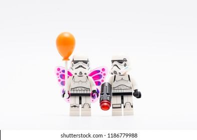 MALAYSIA, sept 2, 2018. lego storm troopers one of them wearing wing and holding a balloon. Lego minifigures are manufactured by The Lego Group.