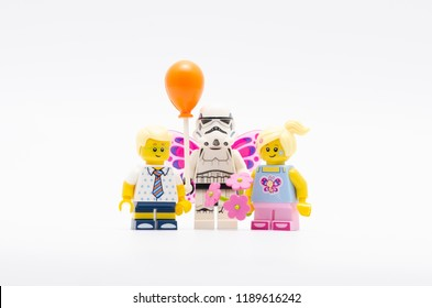 MALAYSIA, sept 2, 2018. lego storm troopers holding balloon with children. Lego minifigures are manufactured by The Lego Group.