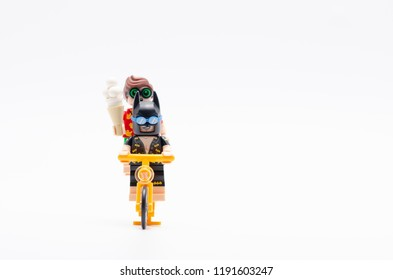 MALAYSIA, sept 30, 2018. lego batman and robin riding bicycle. Lego minifigures are manufactured by The Lego Group.