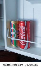 Malaysia, september 2017 - Coca-Cola is a carbonated soft drink produced by The Coca-Cola Company. Coca cola and '100' PLUS in a freezer.
