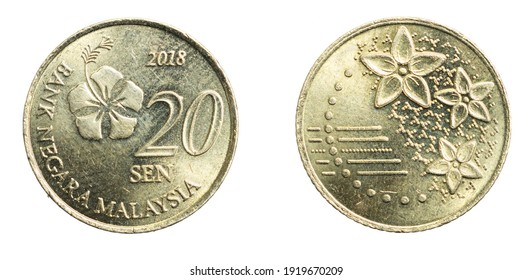 Malaysia twenty sen coin on a white isolated background - Shutterstock ID 1919670209