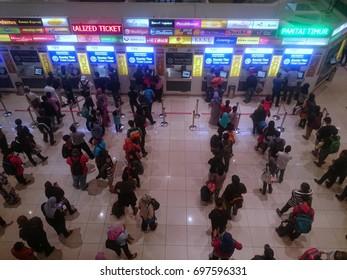 Malaysia,Kuala Lumpur - August 11,2017:Customers are queuing to buy tickets manually in Terminal Bas Tasik Selatan